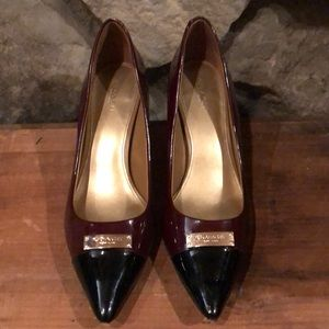 Coach Maroon & Black patent leather heels. Size 10